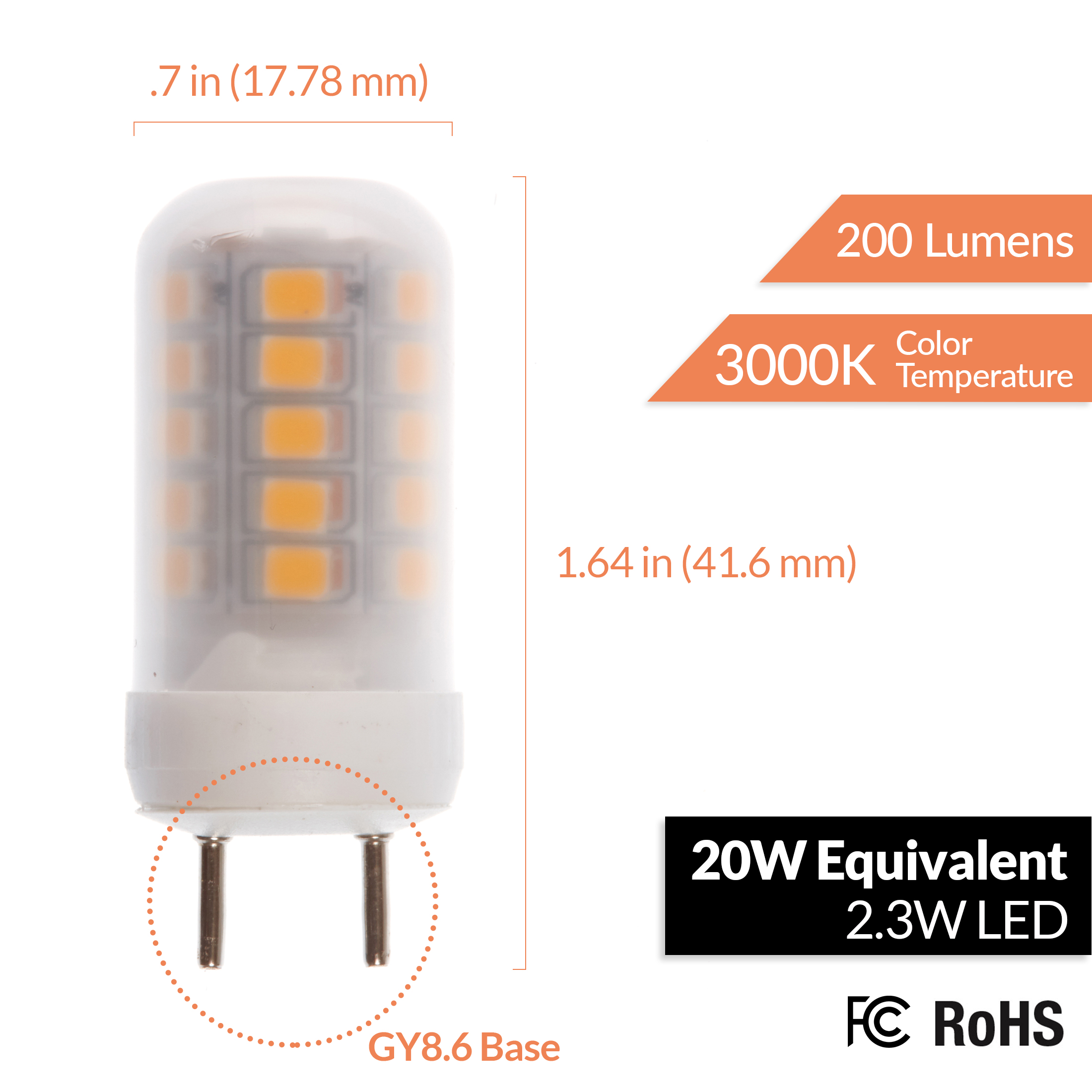 2 3w 20w Equivalent Gy8 2320 Led Bulb