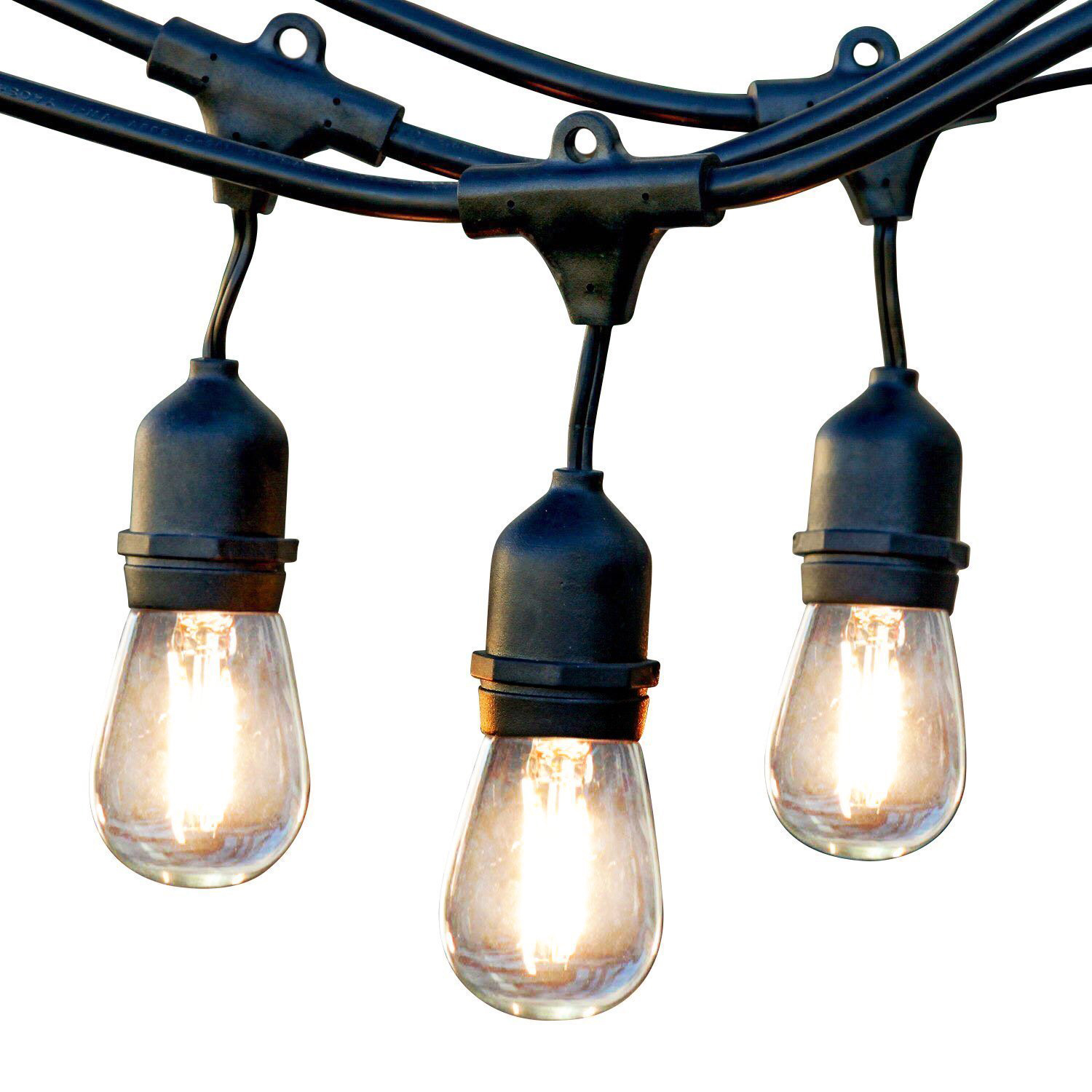 Newhouse Lighting Outdoor Weatherproof Commercial Grade LED String Lights  With Hanging Sockets | Weatherproof Technology |
