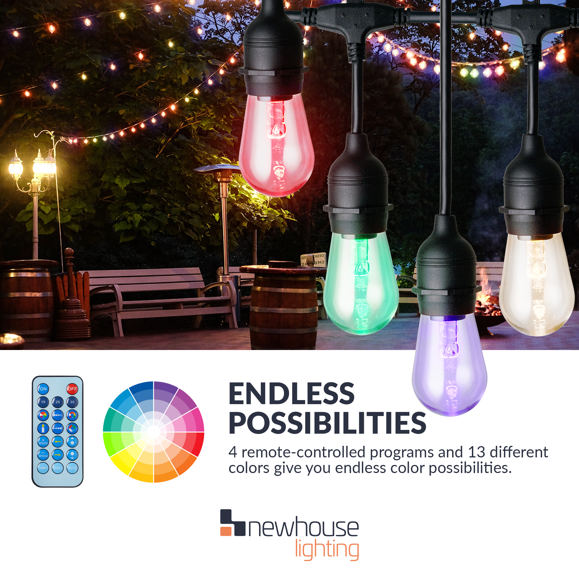 Newhouse Lighting 48 Foot Outdoor String Lights Led Bulbs: Newhouse Lighting 48 Ft. Warm White And Color Changing